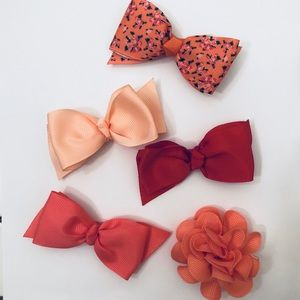 Other - Set of 5 Pink/Red Hair Bows